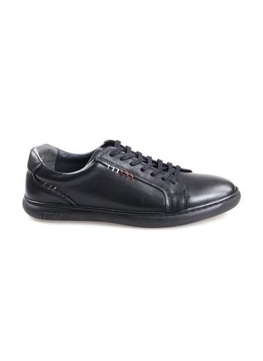 Goes 727 Kauçuk Taban Ortapedik Siyah Günlük Erkek Deri Ayakkabı Siyah